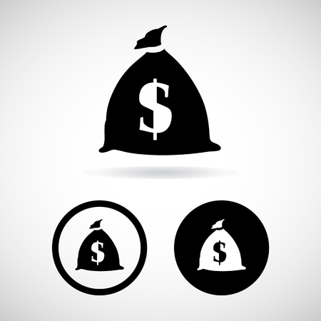 dollar bag: Dollar bag icons set great for any use. Vector EPS10. Stock Photo