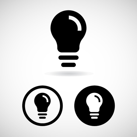 lamp power: Light bulbs. Bulb icons set great for any use. Vector