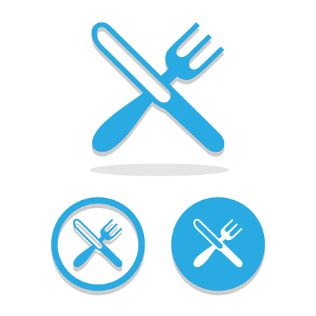 cross bar: crossed fork over knife icons set great for any use. Vector