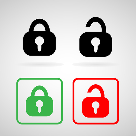Lock and Unlock icons set great for any use. Vector  photo
