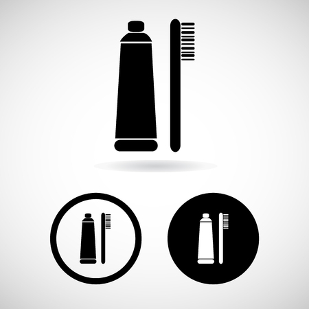 fluoride: toothpaste and a toothbrush icons set great for any use. Vector . Stock Photo