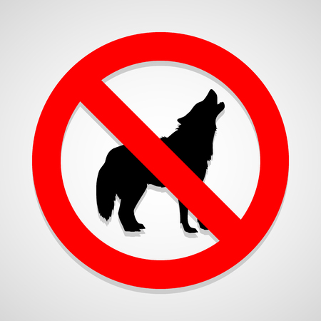 illegal zone: no dog icon great for any use. Vector  Stock Photo