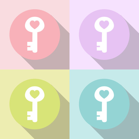 happy couple at home: key of heart icons set great for any use. Vector EPS10. Illustration