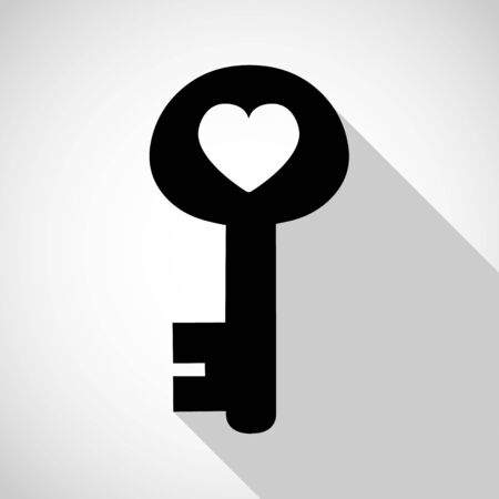 old padlock: key of heart icon great for any use. Vector EPS10.