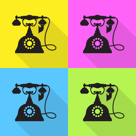telephone icons: Telephone Vintage icons set great for any use. Vector EPS10.