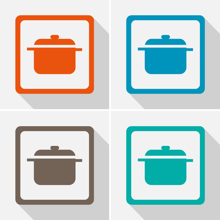 Pot icons set great for any use. Vector EPS10.