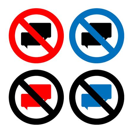 guardar silencio: No hay iconos de la muestra de Chat establecen grandes para cualquier uso. Vector EPS10. Vectores