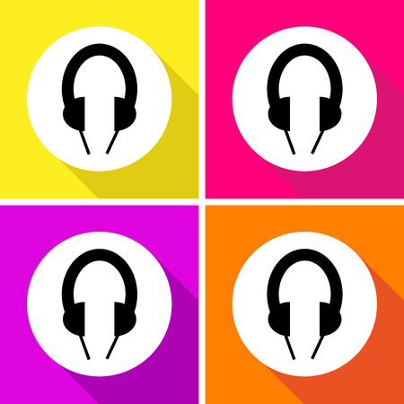 Headphone icons set great for any use. Vector EPS10.