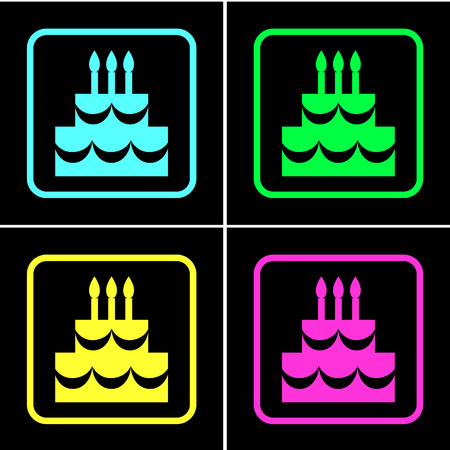 Birthday cake icons set great for any use. Vector EPS10.