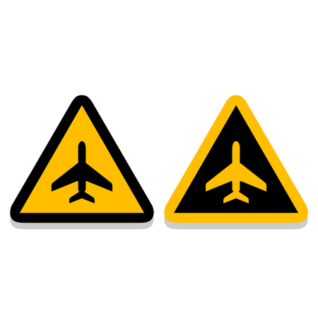 Airplane yellow sign icons set great for any use. Vector EPS10.