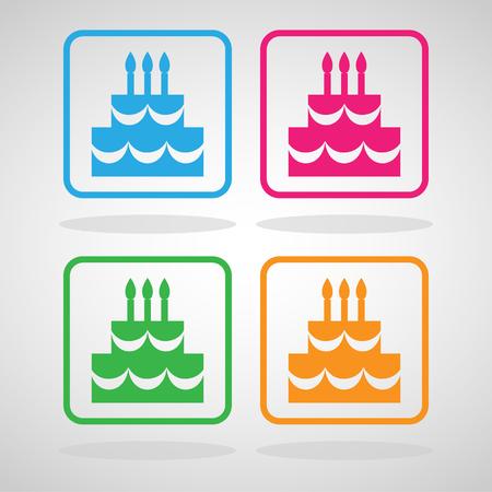 De iconen van de Verjaardagstaart zijn groot voor elk gebruik. Vector EPS10. Stock Illustratie