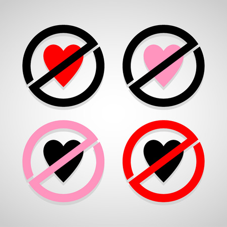 No Heart icons set great for any use. Vector EPS10. Illustration