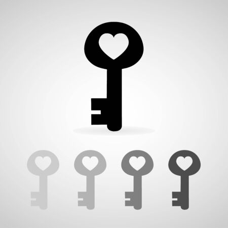 key of heart icons set great for any use. Vector EPS10. Иллюстрация
