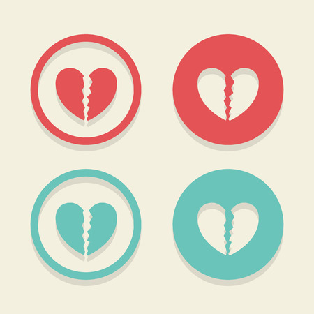 Broken Heart icons set great for any use. Vector EPS10.