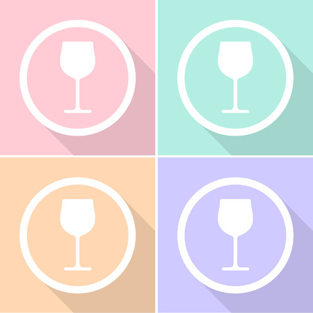 Wine glass icons set great for any use. Vector EPS10. Illustration