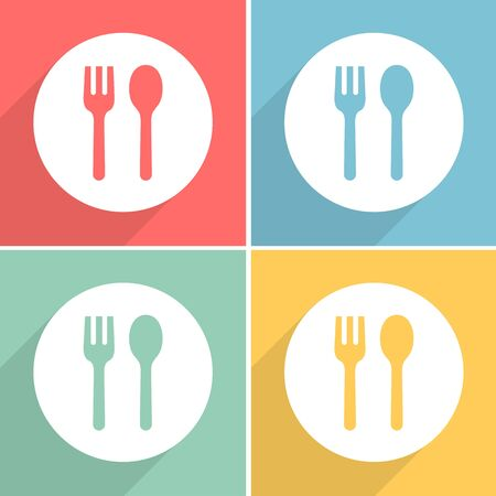 Spoon and fork icons set great for any use. Vector EPS10. Иллюстрация