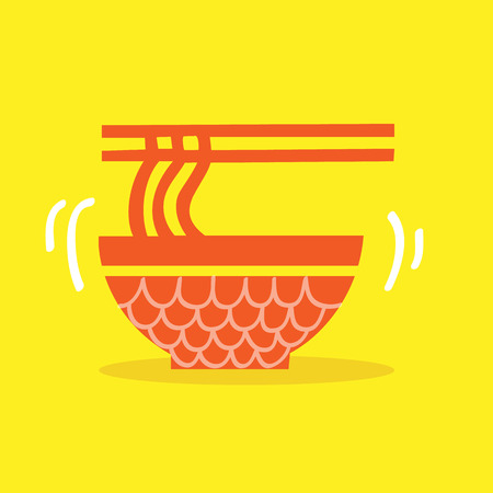 japanese cookery: Red Bowl of noodles with a pair of chopsticks icon Vector EPS10, Great for any use.