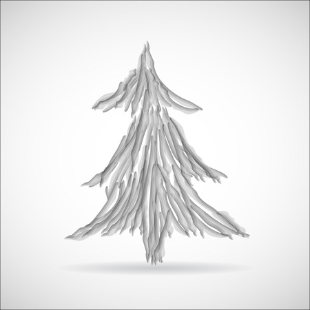 two stroke: Drawing christmas tree icon great for any use. Vector EPS10.