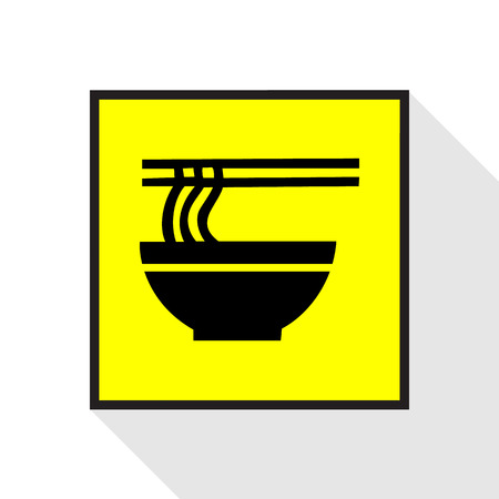 thai noodle: Ramen noodle icon yellow background Vector EPS10, Great for any use.