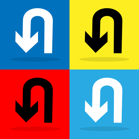 no u turn sign: U-Turn icon set Vector EPS10, Great for any use. Stock Photo
