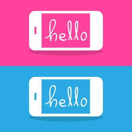 vibrate: Chatting Hello on Mobile screen set Vector EPS10, Great for any use.