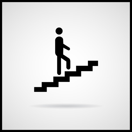 ascent: Man climbing up stairs icon Vector EPS10, Great for any use. Stock Photo