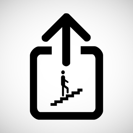 going up: Man on Stairs going up symbol isolated on white Vector EPS10, Great for any use. Stock Photo