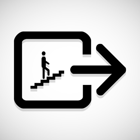 ascend: Man on Stairs going up symbol isolated on white Vector EPS10, Great for any use. Stock Photo