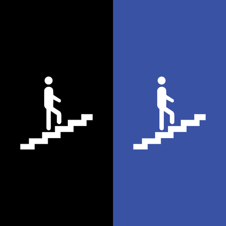 going up: Man on Stairs going up symbol Vector EPS10, Great for any use.