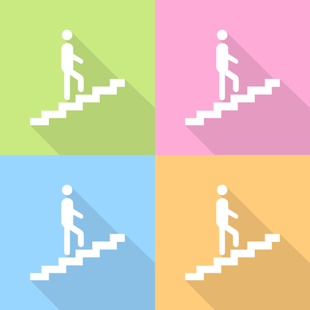 going up: Man on stairs going up icon on colorful background Vector EPS10, Great for any use.
