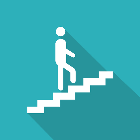 ascent: Man on Stairs Going Up Icon Vector EPS10, Great for any use.