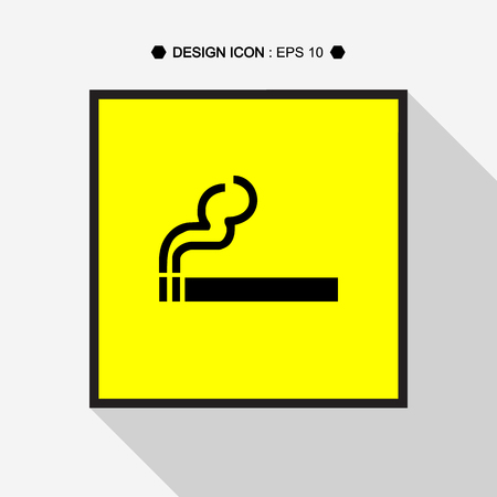 no u turn sign: Smoke icon in yellow square great for any use. Vector EPS10. Stock Photo
