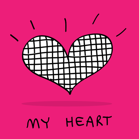compliments: Hand-drawn My hearts in Doodle style sketch art great for any use. Vector EPS10.