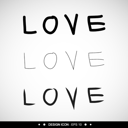 woodcutting: Freehand letters love text doodles great for any use. Vector EPS10. Stock Photo