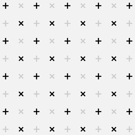 rood: White abstract background with seamless random dark crosses great for any use. Vector EPS10. Stock Photo