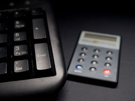 security token: Security net banking token next to keyboard.