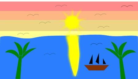 A beatiful sunset on the sea Stock Vector - 92676029