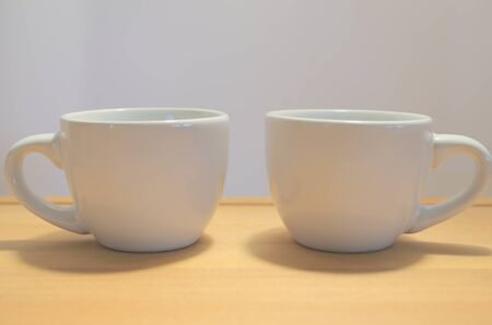 coffee cups: Two coffee cups white ceramic Stock Photo