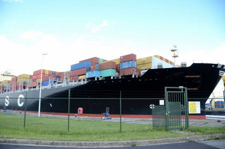 oversea: Container ship arrives at the port of Antwerp