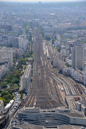 aereal: A view from above on the train station in Paris, France