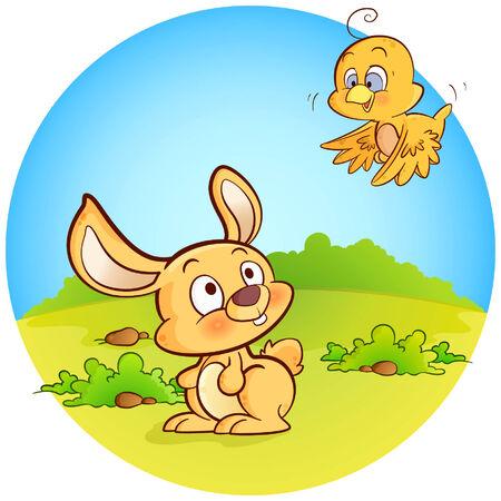 A bird announcing Easter to bunny! Stock Vector - 8094160