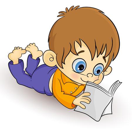 ni�os leyendo: Un ni�o peque�o divertido a leer un libro! Vectores
