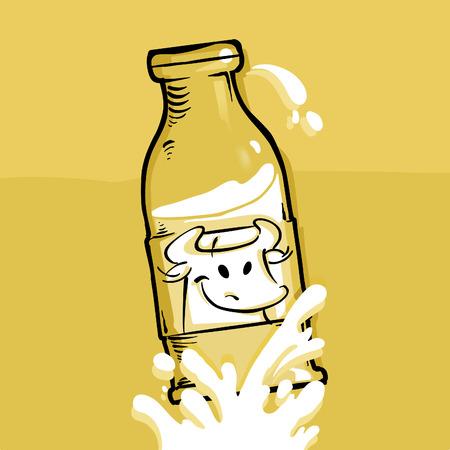 Milk - comic style of a milk bottle Stock Vector - 8420255