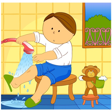 Neat Boy! A little boy washing his leg! Vector