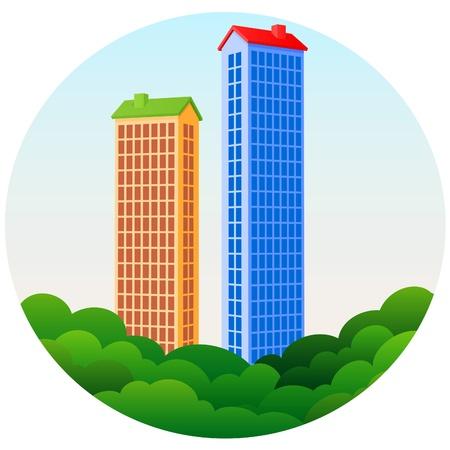 Two Skyscrapers Stock Vector - 8479217