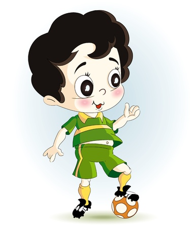 illustration technique: a little soccer player with a ball. green dress.