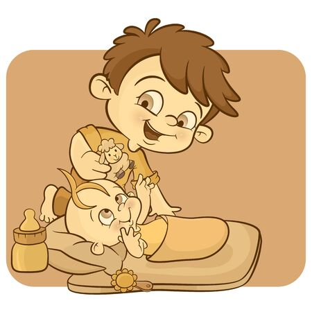 a little boy with his newborn brother Stock Vector - 8690466