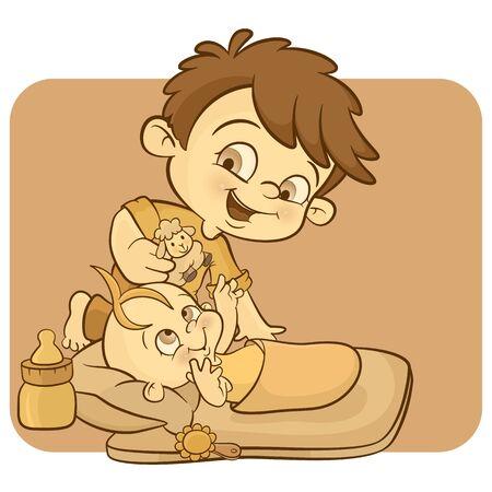un niño pequeño con su hermano recién nacido Ilustración de vector