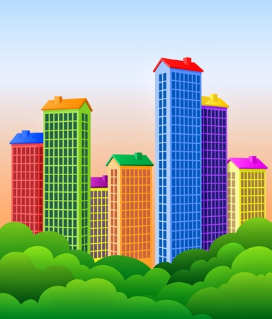 large office: Beautiful City. Colorful buildings and park trees! Illustration