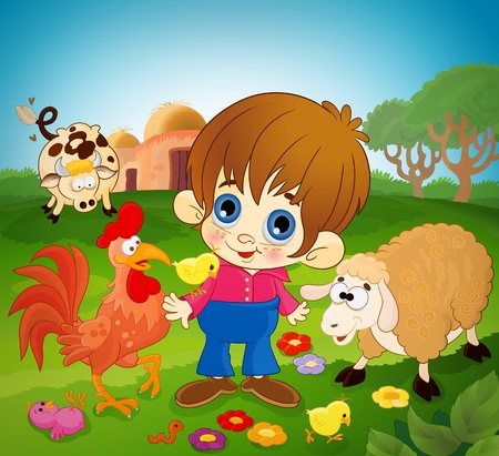 Happy kid between farm animals! Vector